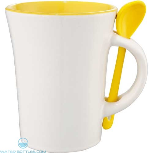 Dolce Ceramic Mugs With Spoon | 10 oz - White with Yellow Trim