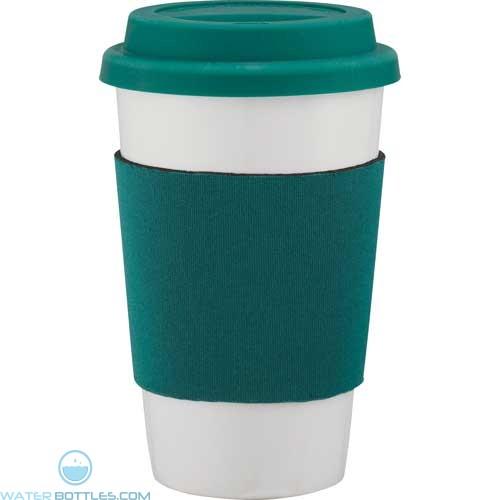 Cafe Ceramic Tumblers | 14 oz - White with Green Wrap