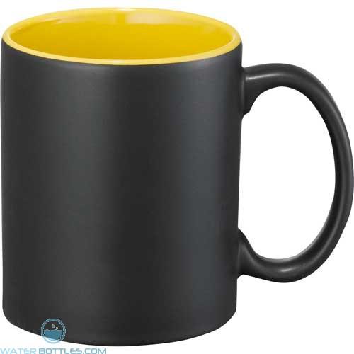 Maya Ceramic Mugs | 11 oz - Black with Yellow Trim