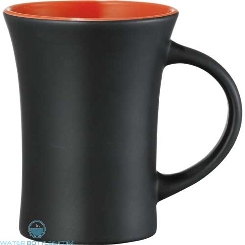 Dakota Ceramic Mugs | 10 oz - Black with Orange Lining