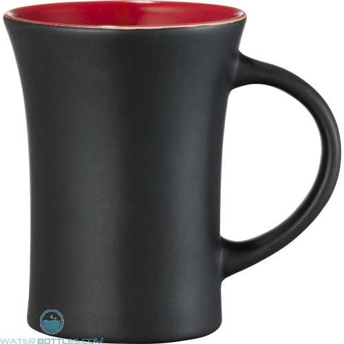 Dakota Ceramic Mugs | 10 oz - Black with Red Lining