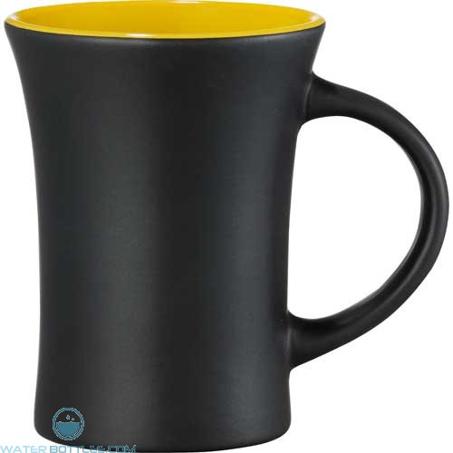 Dakota Ceramic Mugs | 10 oz - Black with Yellow Lining