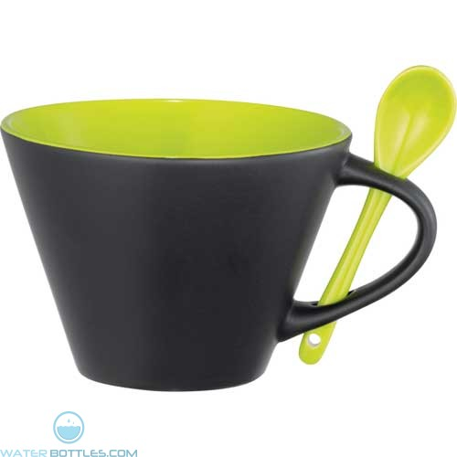 Rancho Mugs With Spoon | 16 oz - Black with Lime Green Lining