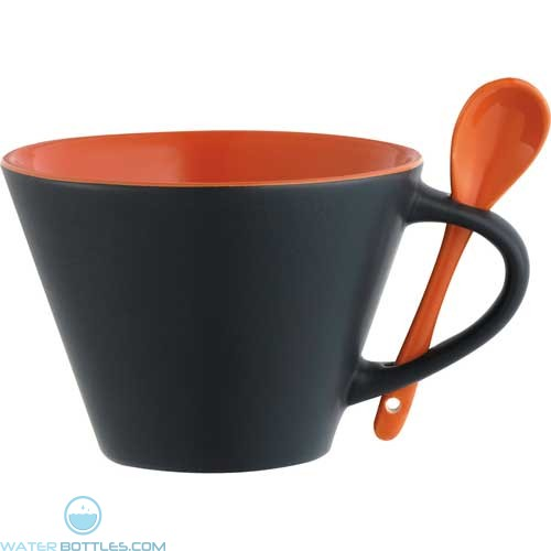 Rancho Mugs With Spoon | 16 oz - Black with Orange Lining
