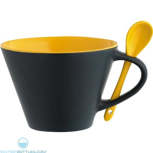 Rancho Mugs With Spoon | 16 oz - Black with Yellow Lining
