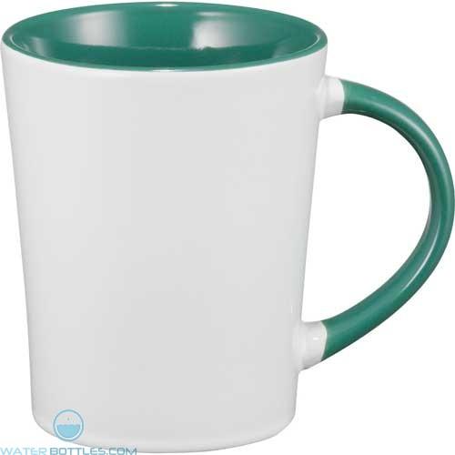Aura Ceramic Mugs | 14 oz - White with Green Trim