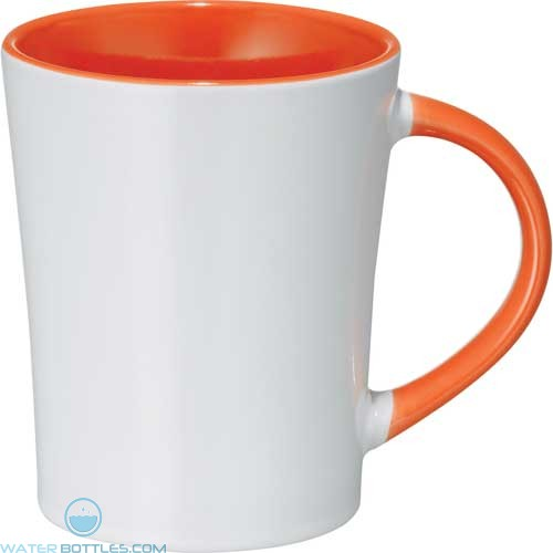 Aura Ceramic Mugs | 14 oz - White with Orange Trim