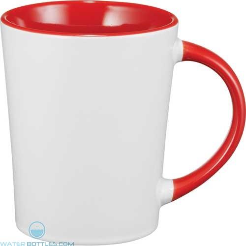 Aura Ceramic Mugs   14 oz - White with Red Trim