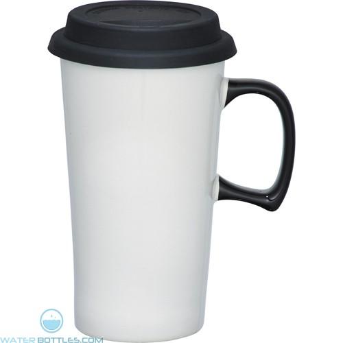 Mambo Ceramic Mugs | 17 oz - White with Black Lid