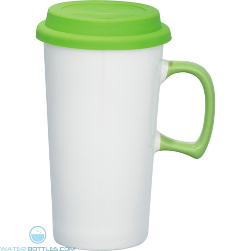 Mambo Ceramic Mugs | 17 oz - White with Lime Green Lid