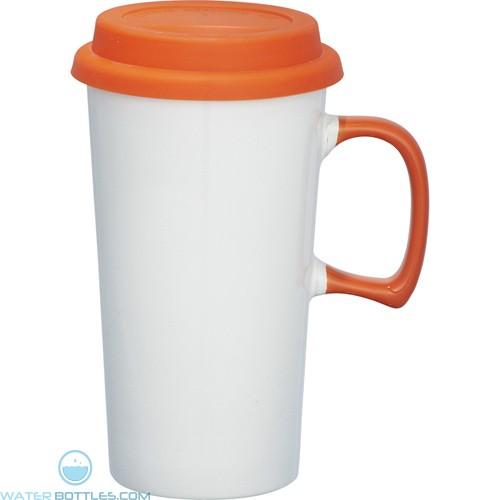 Mambo Ceramic Mugs   17 oz - White with Orange Lid