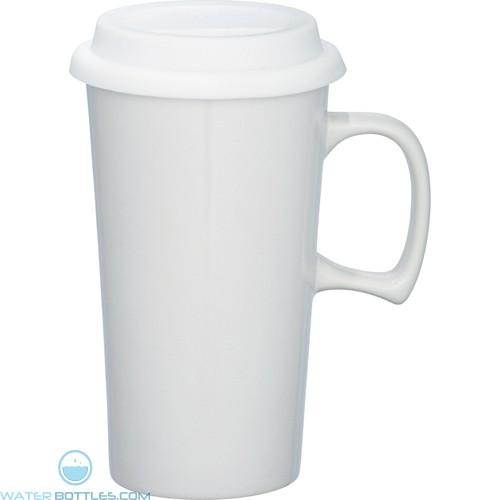 Mambo Ceramic Mugs   17 oz - White with White Lid
