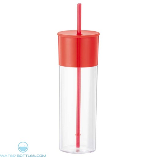 Color Band Tumblers With Straw | 22 oz - Red