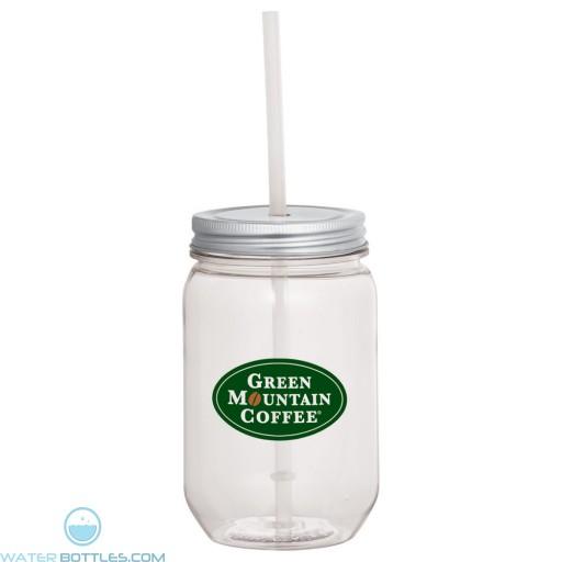 Custom Mason Jar Mugs - Mason Jar With Silver Tin Lid | 22 oz