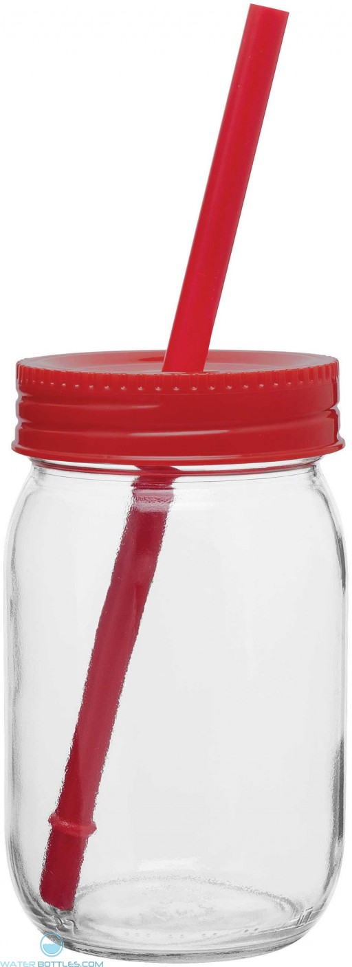Glass Mason Jar With Color Lid | 16 oz - Red