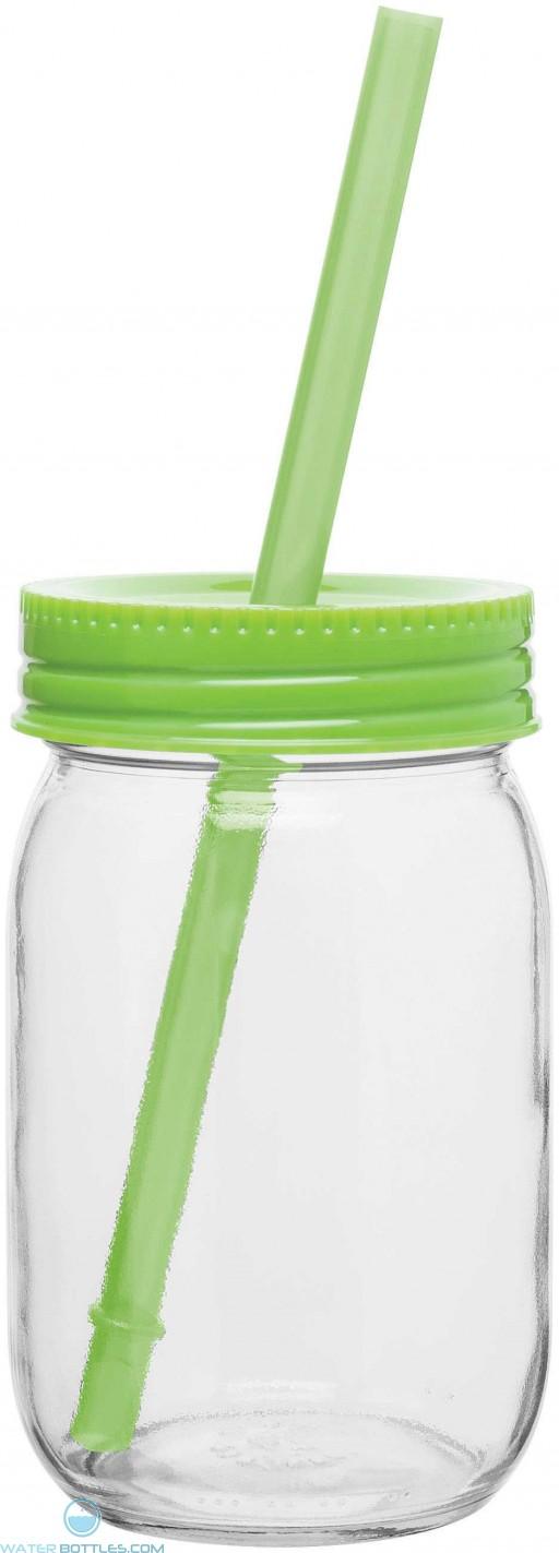Glass Mason Jar With Color Lid   16 oz - Neon Green