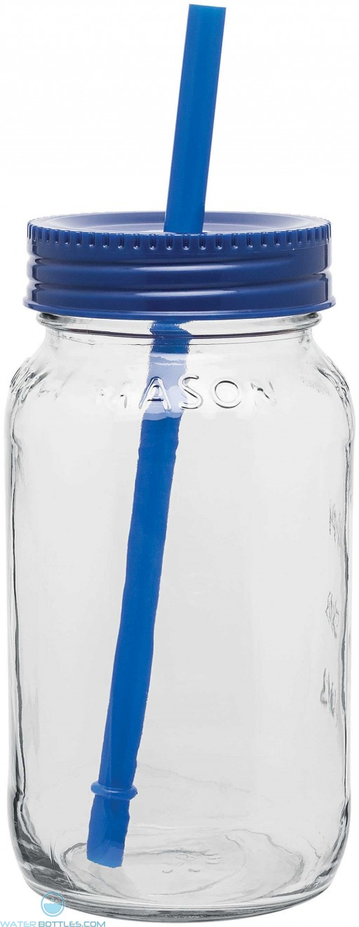 Glass Mason Jar With Color Lid | 25 oz - Blue