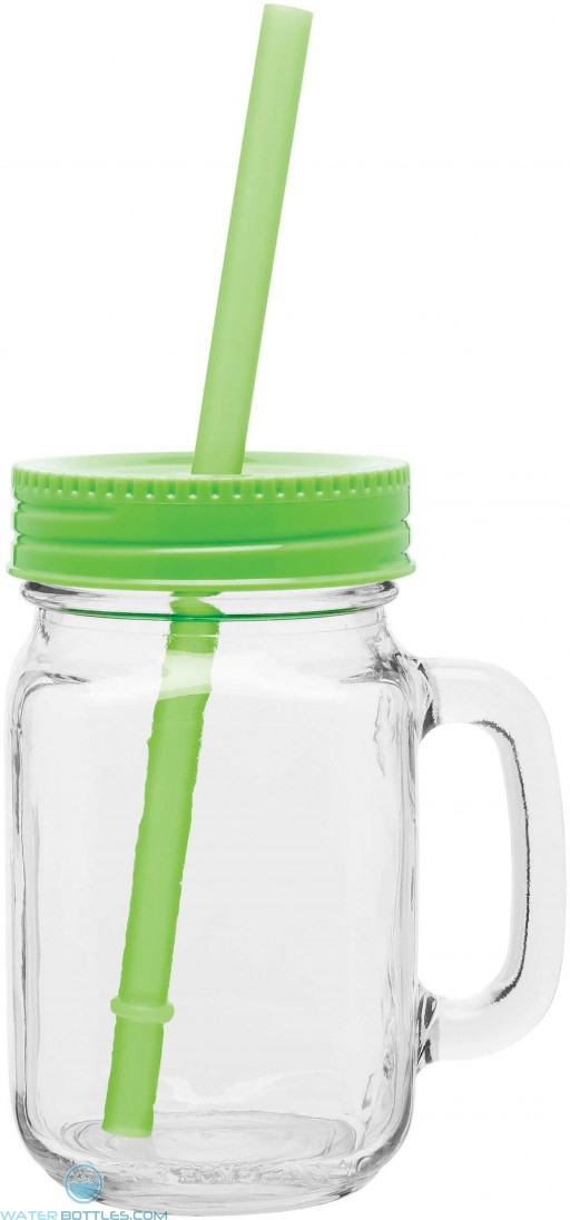 Glass Mason Mugs With Handle   16 oz - Neon Green