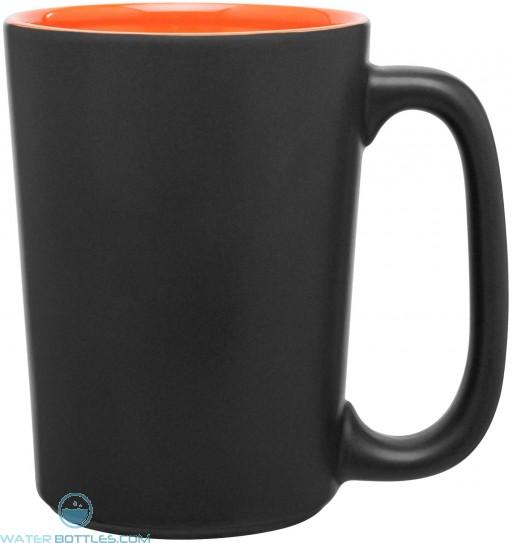 Rocca Ceramic Mugs - Matte Black | 15 oz - Orange