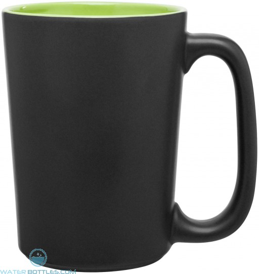 Rocca Ceramic Mugs - Matte Black | 15 oz - Lime Green