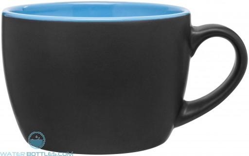 Bolzano Ceramic Mugs - Matte Black | 18 oz - Sky Blue