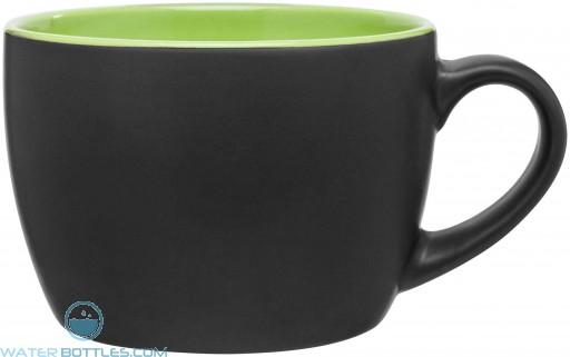 Bolzano Ceramic Mugs - Matte Black   18 oz - Lime Green