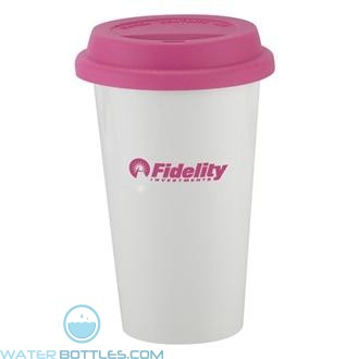I`m Not A Plastic Cup | 10 oz - White with Pink Lid