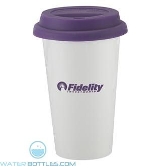 I`m Not A Plastic Cup | 10 oz - White with Purple Lid