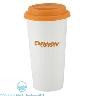 I`m Not A Big Plastic Cup | 16 oz - White with Orange Lid