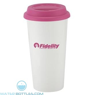 I`m Not A Big Plastic Cup | 16 oz - White with Pink Lid