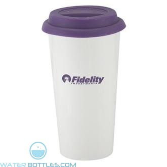 I`m Not A Big Plastic Cup | 16 oz - White with Purple Lid