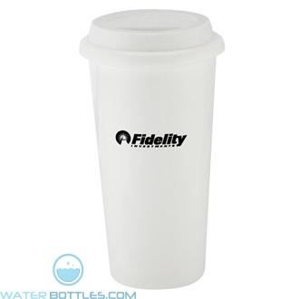 I`m Not A Big Plastic Cup   16 oz - White with White Lid