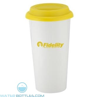 I`m Not A Big Plastic Cup   16 oz - White with Yellow Lid