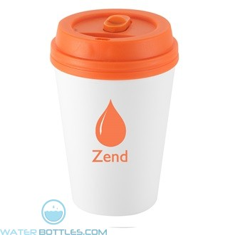 I`m Not A Paper Cup | 10 oz - White with Orange Lid