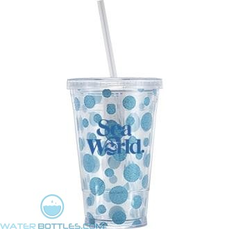 TM-50 With Circles | 16 oz - Clear with Blue Circles