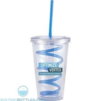 Slurpy With Crazy Straw | 16 oz - Clear with Blue Crazy Straw