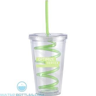Slurpy With Crazy Straw | 16 oz - Clear with Green Crazy Straw