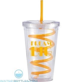 Slurpy With Crazy Straw | 16 oz - Clear with Orange Crazy Straw