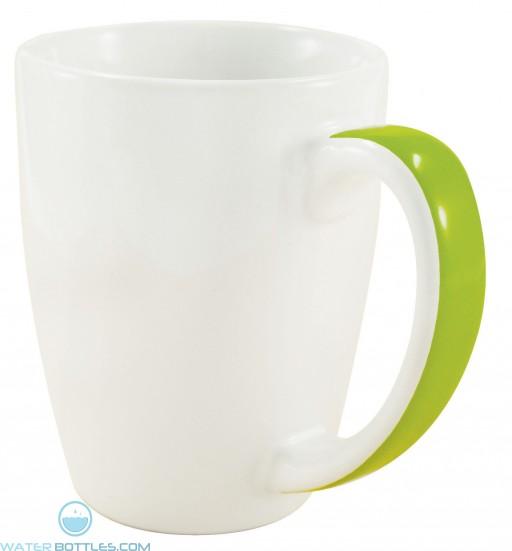 Java Stripe Mugs | 12 oz - White with Lime Green Stripe