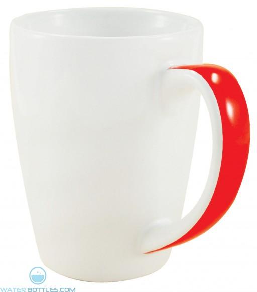 Java Stripe Mugs | 12 oz - White with Orange Stripe