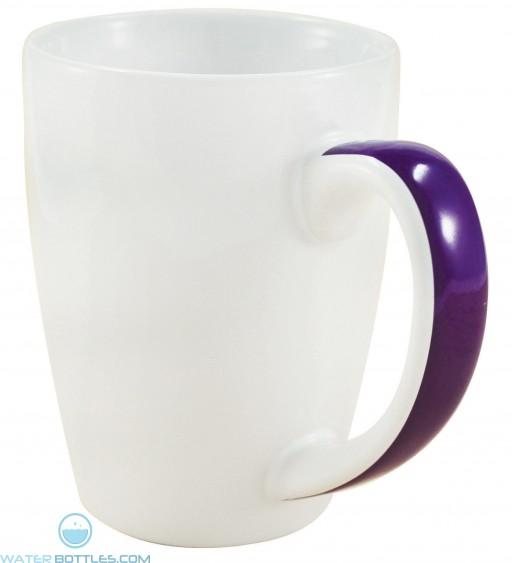 Java Stripe Mugs   12 oz - White with Purple Stripe