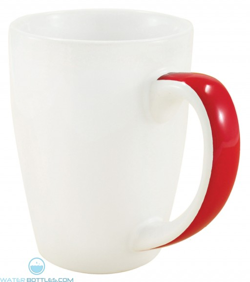Java Stripe Mugs | 12 oz - White with Red Stripe
