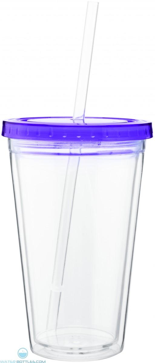 16 oz spirit tumbler with color lid-purple