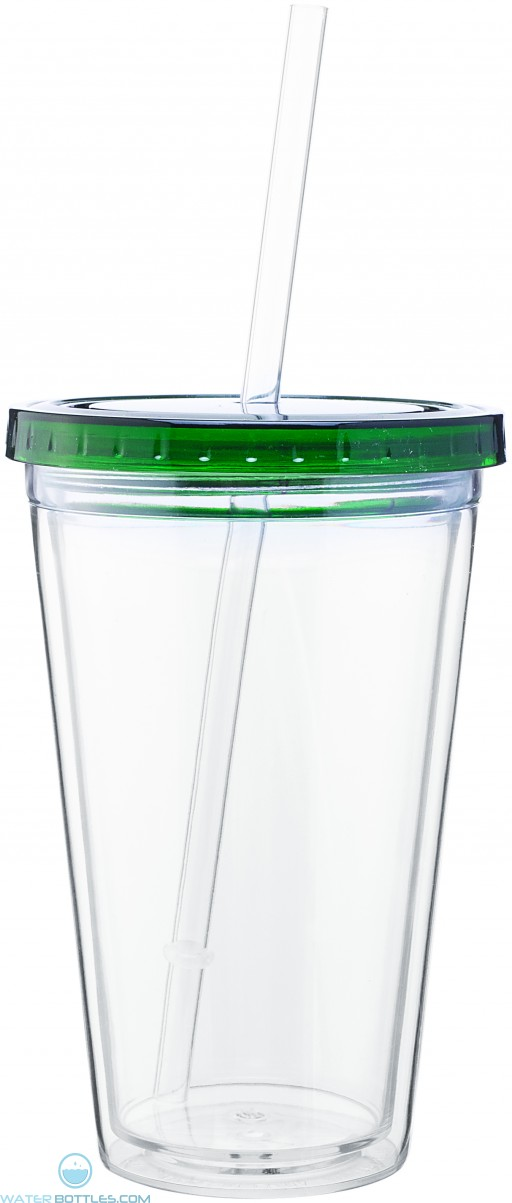 16 oz spirit tumbler with color lid-green