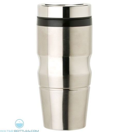 Stainless Steel Tumblers   14 oz - Stainless Steel with Black Lid and Band
