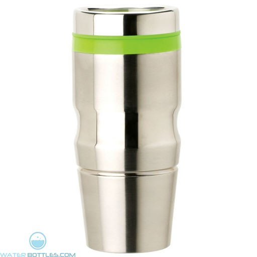 Stainless Steel Tumblers | 14 oz - Stainless Steel with Green Lid and Band