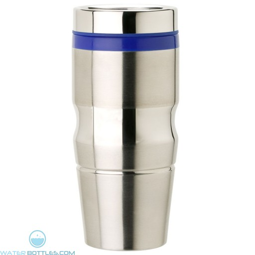 Stainless Steel Tumblers | 14 oz - Stainless Steel with Blue Lid and Band