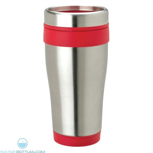 Stainless Steel Tumblers | 14 oz - Stainless Steel with Red Band