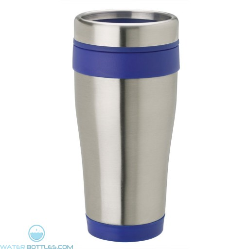 Stainless Steel Tumblers | 14 oz - Stainless Steel with Blue Band