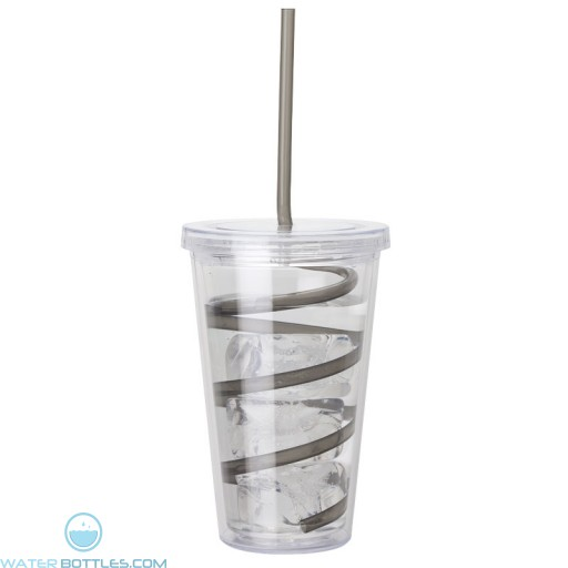Double Wall AS Tumblers   16 oz - Clear with Black Curly Straw
